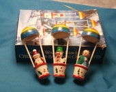 Rainbow Balloon Ornaments, Vintage  Painted Wooden Christmas Decorations, Made in Taiwan