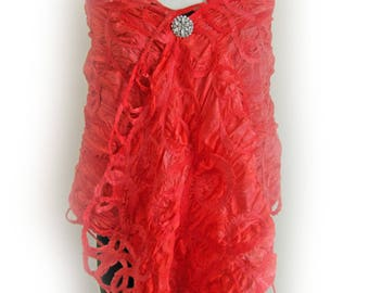 Large Red Silk Wrap - Special Occasion - Bridal Coverup - Mother of Bride Stole