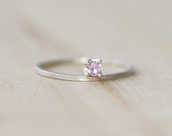 Minimalist Pink Sapphire Gemstone Ring | Stackable Ring | Skinny Ring