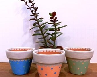 Mini Clay Pots , Small Succulent Pots , Wedding Favors , Party Decor , Bridal Shower Favors , Set of Three Mini Planters , Candy Holders