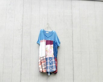 Upcycled Dress, Wearable Art, Recycled Shirt, Repurposed Clothing, Fun Clothes, Cotton Dress, Sustainable Clothing, Plaid Tunic, Blue Dress