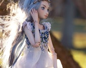 porcelain bjd with silk and embroidery dress, ball jointed art doll forget me not, little minion doll by meow