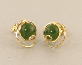 Green Jade Gold Post Earrings, Unique Wire Wrapped Green Nephrite Jade Gemstone Gold Filled Stud Post Earrings, Real Jade Jewelry
