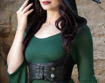 "NEW: The ""Faux"" Leather Underbust Vest/Harness w/DETACHABLE Pixie Hood in Black by Opal Moon Designs (Size S-XXL)"