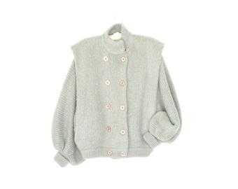 80s Sweater Jacket * Gray Voluminous Knit Jacket * Vintage Cardigan Sweater Coat * Large
