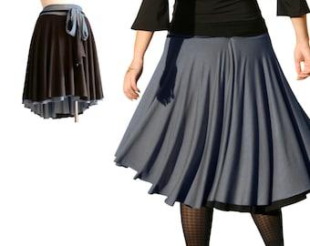Full skirt, Grey skirt, Black skirt, Custom skirt, Asymmetric knee length skirt, Aline skirt, Womens clothing, Womens skirts