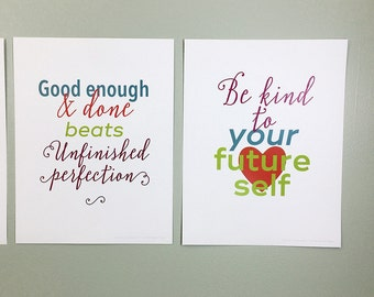 Motivational poster set. Four posters to help you keep going and get stuff done. Inspirational wall art for progress, not perfection.