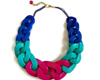 Chunky Statement Necklace, Blue Pink Chain Necklace, Colorful Polymer Clay Necklace
