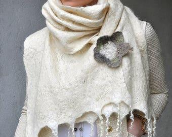 ECO Hand felted scarf --- Blue Faced Leicester wool  --- Gray Fog cobweb --- handmade art -- Nature Eco Scarf Shawl Web