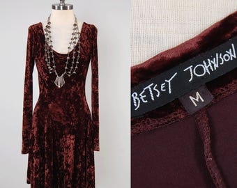 Vintage 90s BETSEY JOHNSON crushed velvet mini dress / Stretchy body con with full skirt / Chocolate brown velvet dress
