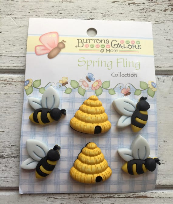"""Bee and Hive Buttons, """"Busy Bees"""" by Buttons Galore, #SF100, Carded set of 6, Shank Back Buttons, Embellishments, Crafting, Sewing"""
