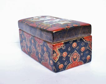 Vintage Retro Chinese Hand Painted Porcelain Art Pottery Box, Floral Peonies Birds Mid Century 50s