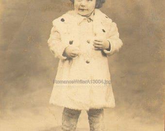 Darling Little Girl Shy Smile White Coat Fur Leg Warmers Antique Photograph