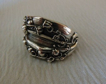 Lily Of The Valley  Spoon Ring  Antique  Sterling Silver  Size 9