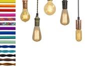 Pendant Light - Custom Color Cloth Cord, Edison and vintage bulbs. Design vintage style lights or modern pendant lighting. Hardwired or Plug