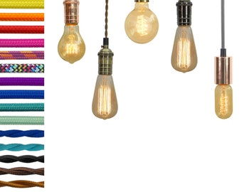 Pendant Light - Custom Color Cloth Cord, Edison and vintage bulbs. Design vintage style lights or modern pendant lighting. Hardwired or Plug