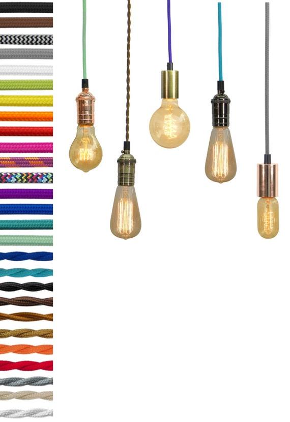 Pendant Light Custom Color Cloth Cord Edison And Vintage