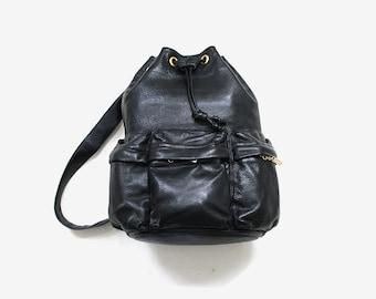 Vintage Leather Backpack / Drawstring Bucket Bag / Black Leather Knapsack