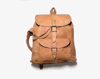 FLASH SALE Vintage Leather Backpack / Tan Leather Backpack / Drawstring Backpack / Leather Rucksack