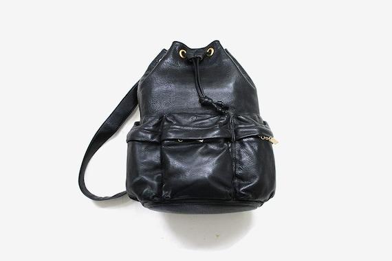 Vintage Leather Backpack / Black Leather Backpack / Drawstring Backpack / Leather Knapsack / Leather Bucket Bag