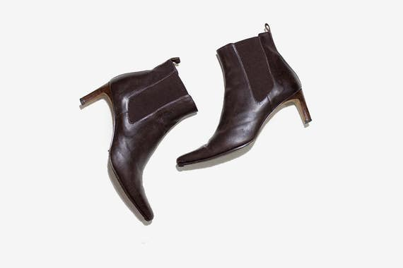 Vintage Chelsea Boots 8.5 / Leather Ankle Boots / High Heel Boots / Brown Leather Boots / Ankle Boots Women