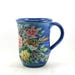 Glazed Pottery Mug - OOAK Handmade Coffee Mug with Flowers and Bird - Tea Cup - Blue Porcelain