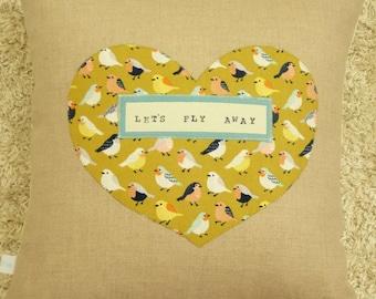 Heart Pillow - Sparrows - Pillow Cover  - Decorative Pillow - Nursery Decor - Let's Fly Away - Home Decor - Linen - Chartreuse
