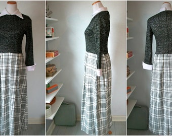 70s Maxi PLAID and shiny metallic dress - by At Home Wear for Van Raalte