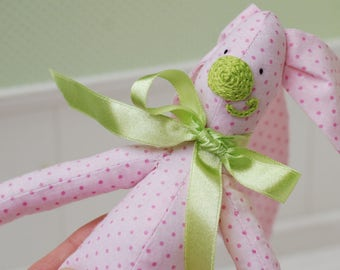 Bunny Hare Rabbit Fabric Cotton Toy Animal Baby Girl Soft Customized Toys Handmade Gift Yellow Pink