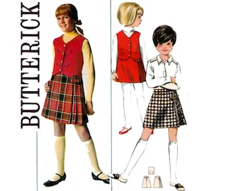 60s MOD Girls Weskit and Skirt Pattern Butterick 4502 Vest and Miniskirt Kids Vintage Sewing Pattern Size 8 Breast 26 inches