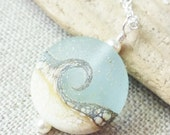 Small Beach Necklace, Lampwork Sea Glass Wave Necklace, Beach Ocean Jewelry, Beach Wedding, Gift For Her, Bridesmaid Gifts, Christmas Gift