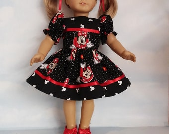 18 inch doll clothes - Black Minnie Dress made to fit the American Girl Doll - FREE SHIPPING