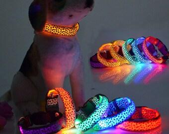 Leopard Pet Dog LED Light Flashing Collar Safety Nylon Neck Collars Costume