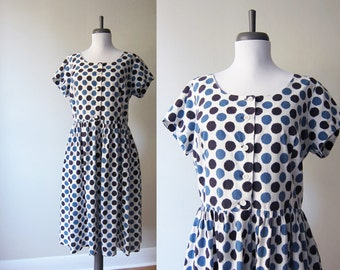 Vintage 1960s Dress / Blue Polka Dot Cotton Shirt Dress Fit & Flare / Size Medium / Size Large