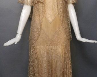 20s CHAMPAGNE LACE art deco silk chiffon chevron gatsby era bridal gown party DRESS & jacket blouse top set vintage 1920s 1930s