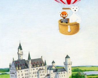 Walter the Red Panda and Jack the Polar Bear's Hot Air Balloon Ride over Neuschwanstein Castle 8 x 10 inch Print by SBMathieu
