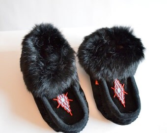 Vintage LEATHER and rabbit fur moccasins / 6