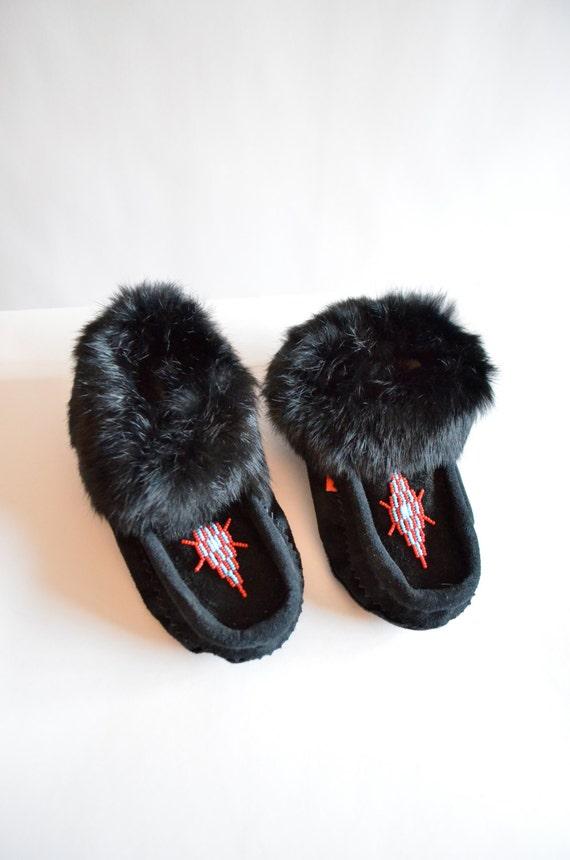 Vintage LEATHER and rabbit fur moccasins / 6