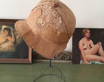r e s e r v e d...vintage 1920s cloche. RARE A.Miller's 20s straw lace cloche hat. 1920s antique cloche