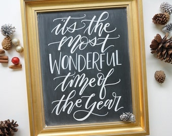 It's the most wonderful time of the year - 11x14 Christmas holiday gold framed chalkboard calligraphy