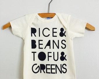 Rice and Beans, Tofu and Greens, Baby Tshirt, Vegan, Vegetarian, Screen Printed Clothing