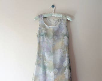 Amorose - Vintage 90's Pastel Iridescent Rose Print Dreamy Dress Small