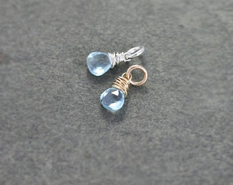 Light Blue Topaz Charm Pendant, Sterling Silver or 14k Gold Filled Tiny December Birthstone - Add a Dangle