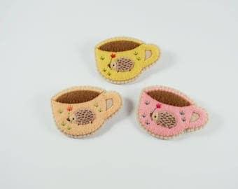Coffee Cup Brooch / Felt Hedgehog Brooch / A Hedgehog That Loves Coffee Felt Brooch / Pastel Coffee Cup Pin / Cup Hedgehog Felt Brooch