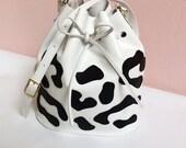 Leopard Leather bucket bag, leather bag, panther, white leather bag, shoulderbag, women's bag, La Lisette