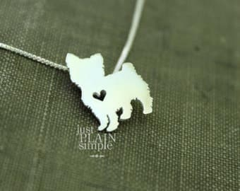 Yorkshire Terrier necklace, sterling silver hand cut pendant, with heart, tiny dog breed jewelry