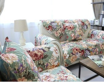 Vintage Flower Sofa Cover American Country Couch Slipcover Loveseat Cover Cotton Green Floral White Home Decor