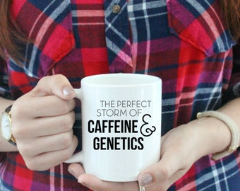 The Perfect Storm of Caffeine and Genetics Coffee Mug  / black and white coffee mug - ceramic - luke's diner - Gilmore Girls Rory Lorelai