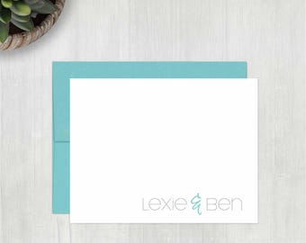 Personalized Note Cards Set • Simple Couple {FOLDED} • 10 Note Cards with Envelopes • Couples Note Cards • Couples Thank You Notes • Wedding