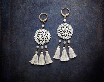 White Enameled Tassel Earring Chandelier Boho Festival Camel Swag Bohemian Upcycled Repurposed Jewelry Assemblage Mother of Pearl Mandala